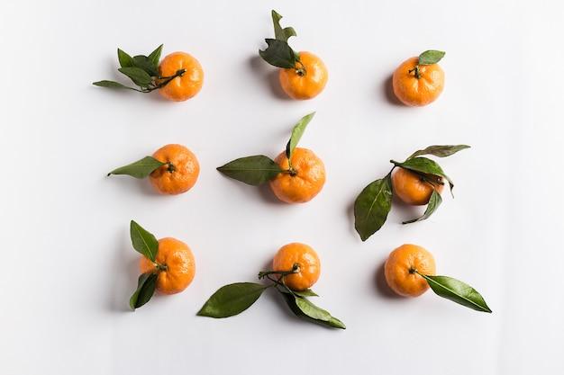 Mandarinen isoliert mit grünen blättern auf weiß Kostenlose Fotos