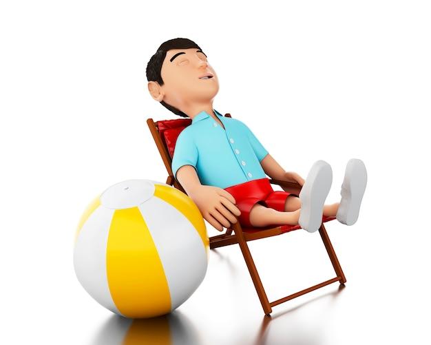 Mann 3d entspannte sich auf einem strandstuhl mit einem wasserball. Premium Fotos
