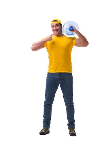 Mann, der die wasserflasche lokalisiert liefert Premium Fotos