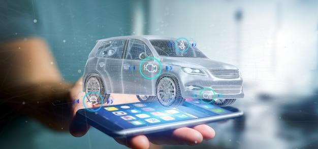Mann, der ein smartcar mit der wiedergabe der überprüfungen 3d hält Premium Fotos