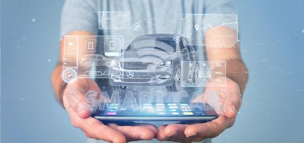 Mann, der eine wiedergabe des armaturenbrett smartcar schnittstellenarmaturenbretts 3d hält Premium Fotos