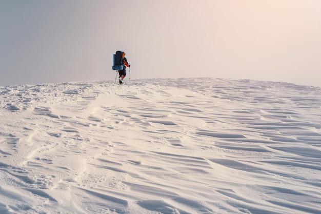Mann, der mit rucksack und schneeschuhen im winterberg wandert Premium Fotos