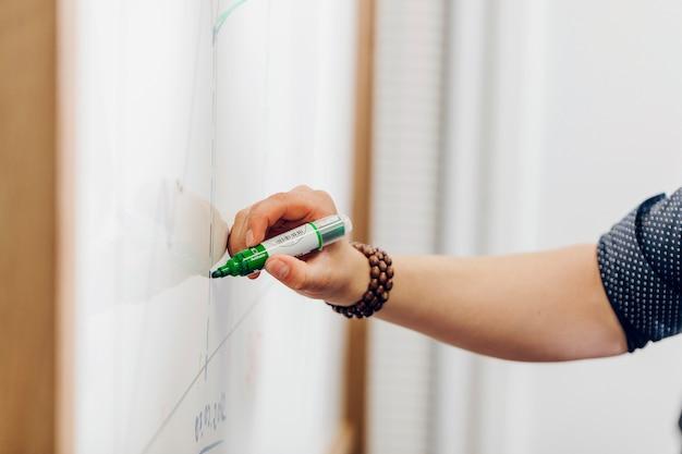 Mann hält marker stift schreiben auf whiteboard Kostenlose Fotos
