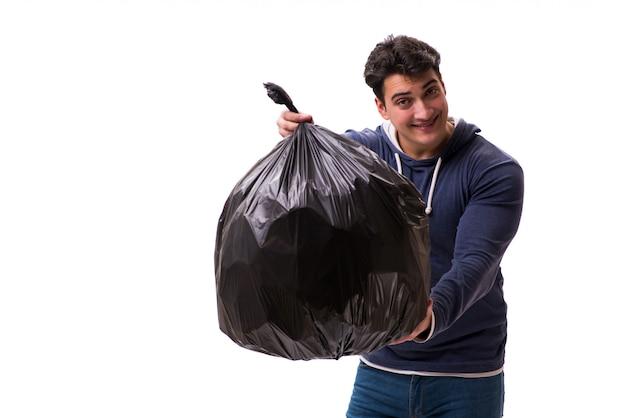 Mann mit dem müllsack lokalisiert Premium Fotos