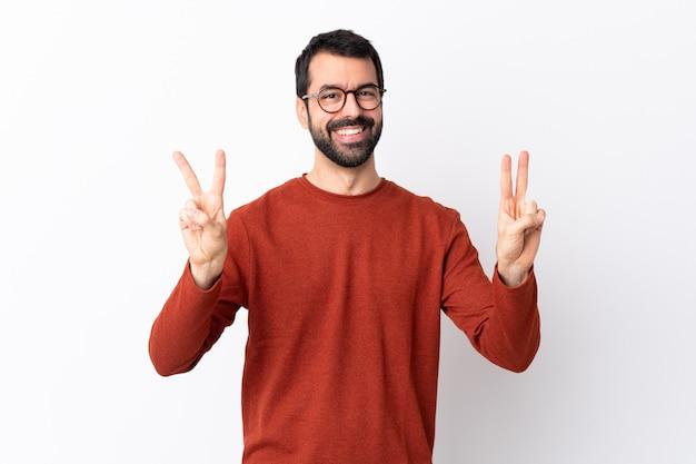 Mann mit der roten strickjackeaufstellung Premium Fotos