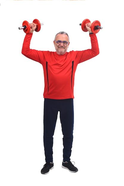 Mann mit hanteln auf weiß Premium Fotos