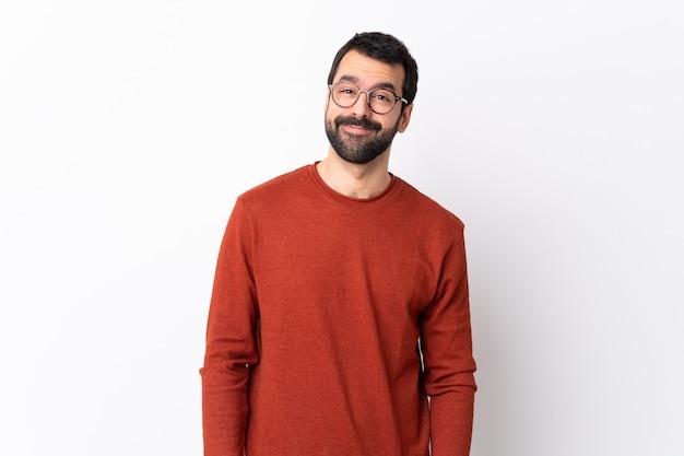 Mann mit roter strickjacke und der glasaufstellung Premium Fotos