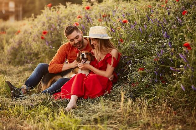 Mann und frau sitzen mit einem lustigen spürhund auf dem grünen feld mit roten mohnblumen Kostenlose Fotos