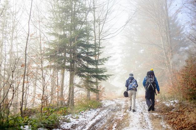 Mann- und frauenwanderer, die auf nebeligem waldgebirgspfad wandern Premium Fotos