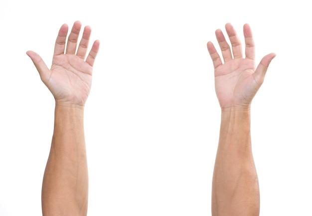 Mannhände lokalisiert auf weißer oberfläche Premium Fotos