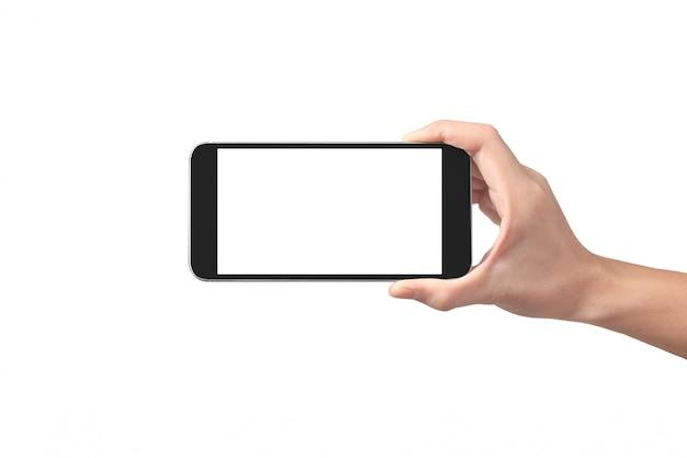 Mannhand, die smartphonegerät und touch screen hält Premium Fotos