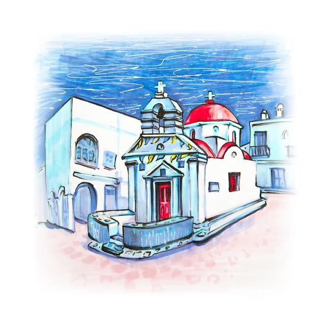 Markierungsskizze der griechischen kirche auf der insel mykonos, griechenland Premium Fotos