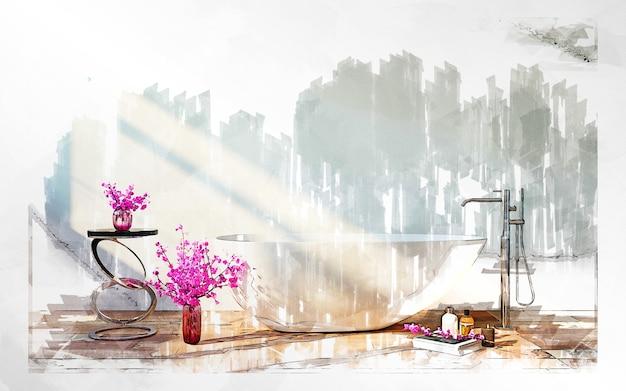 Markierungsskizze des badezimmers mit blumen. Premium Fotos