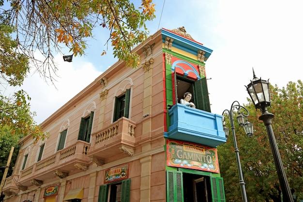 Markstein des caminito oder des kleinen gehwegs auf spanisch, la boca-nachbarschaft, buenos aires, argentinien Premium Fotos