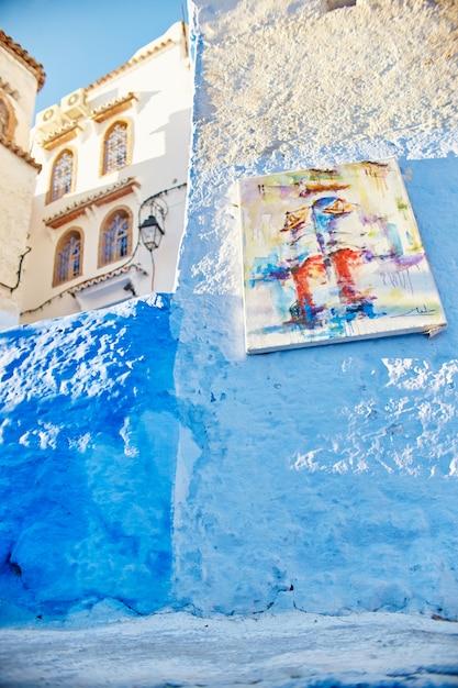 Marktstraßen blau gestrichen Premium Fotos