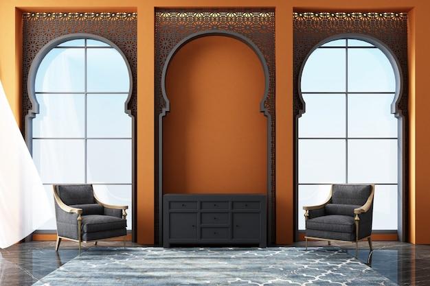 Marokkanischer innenraum mit arabischem laser schnitt muster an den fenstern und an der wiedergabe der möbel 3d Premium Fotos