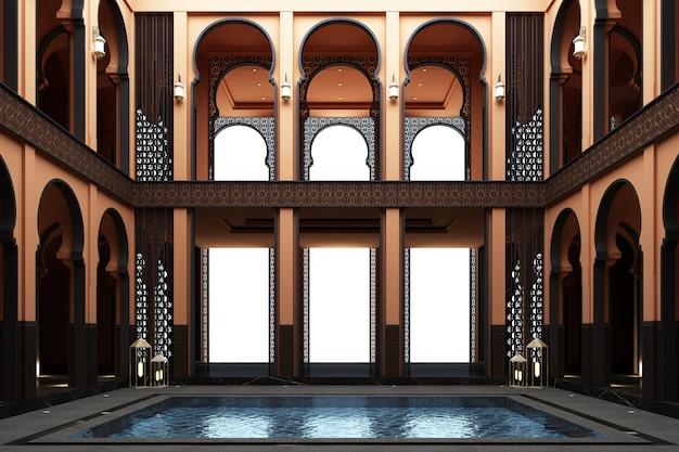Marokkanischer mainhall doppelter raum mit teich mitten in der wiedergabe des hauses 3d Premium Fotos
