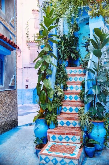 Marokko ist die blaue stadt von chefchaouen, endlose straßen in blauer farbe. viele blumen und souvenirs Premium Fotos