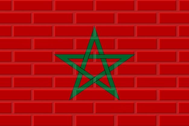 Marokko ziegelflaggenillustration Premium Fotos