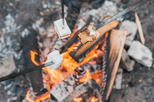 Marshmallow auf lagerfeuerflammen Premium Fotos