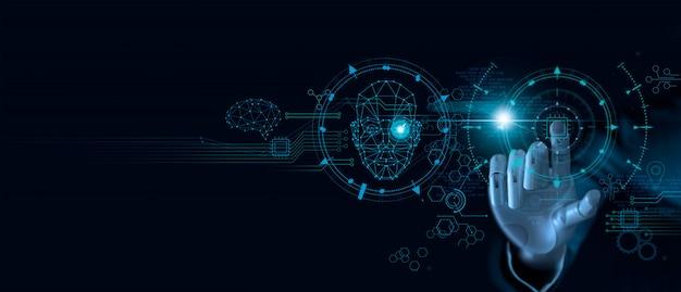 Maschinelles lernen. hand des roboters, der computerchip und binärdaten berührt. Premium Fotos