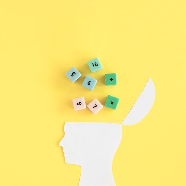Matheblöcke über offenem menschlichem gehirn auf gelbem hintergrund Kostenlose Fotos