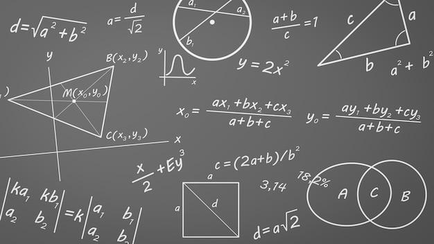 Mathematische formeln, grafiken und symbole auf tafel Premium Fotos