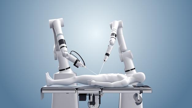 Medizinische roboterchirurgie. moderne medizintechnik. roboterarm lokalisiert auf blau. 3d-rendering Premium Fotos