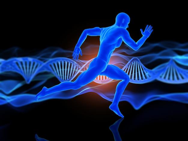 Medizinischer hintergrund 3d mit laufender männerfigur auf dna-strängen Kostenlose Fotos