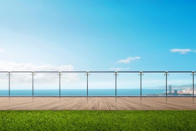 Meerblickansicht mit blauem himmel Premium Fotos