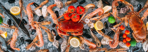 Meeresfrüchte auf eis. krabben, stör, schalentiere, garnelen, rapana, dorado, auf weißem eis. Premium Fotos