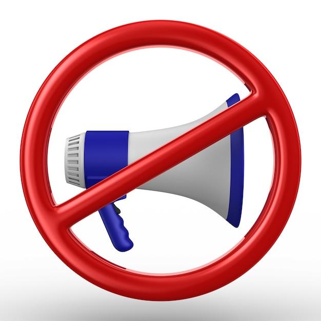 Megaphon und verbotenes schild auf weiß Premium Fotos