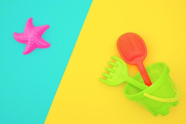 Mehrfarbiges kinderspielzeugset für sommerspiele im sandkasten oder am sandstrand Premium Fotos