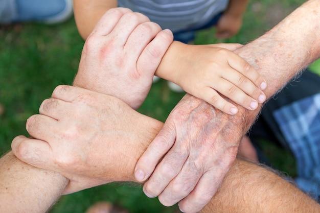 Menschliche hand verbindung teamarbeit Premium Fotos