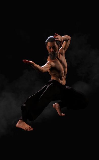 Menschliches kampfkunst-sporttraining mit beschneidungspfad Premium Fotos