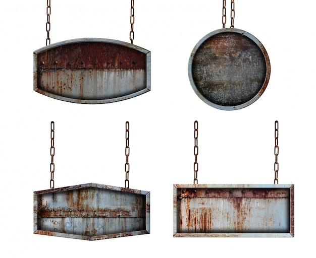 Metallplattenschild mit den ketten lokalisiert auf weißem hintergrund Premium Fotos
