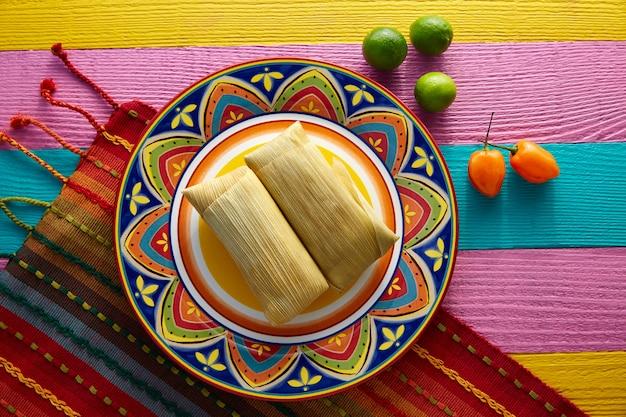 Mexikanische tamale tamales von maisblättern Premium Fotos