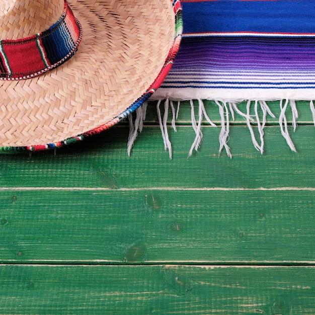 Mexiko cinco de mayo holz mexikanischen sombrero Premium Fotos