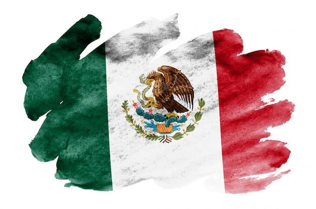 Mexiko-flagge wird in der flüssigen aquarellart dargestellt, die auf weiß lokalisiert wird Premium Fotos