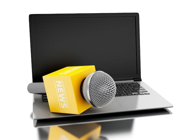 Mikrofon-fernsehen der nachrichten 3d mit laptop. Premium Fotos
