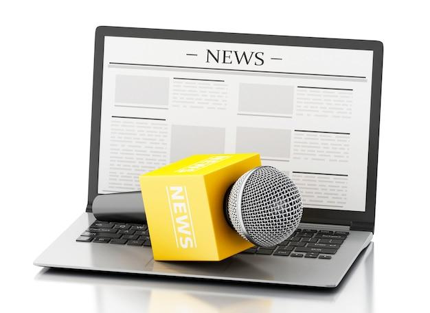 Mikrofon und laptop der nachrichten 3d mit nachrichtenartikel. Premium Fotos
