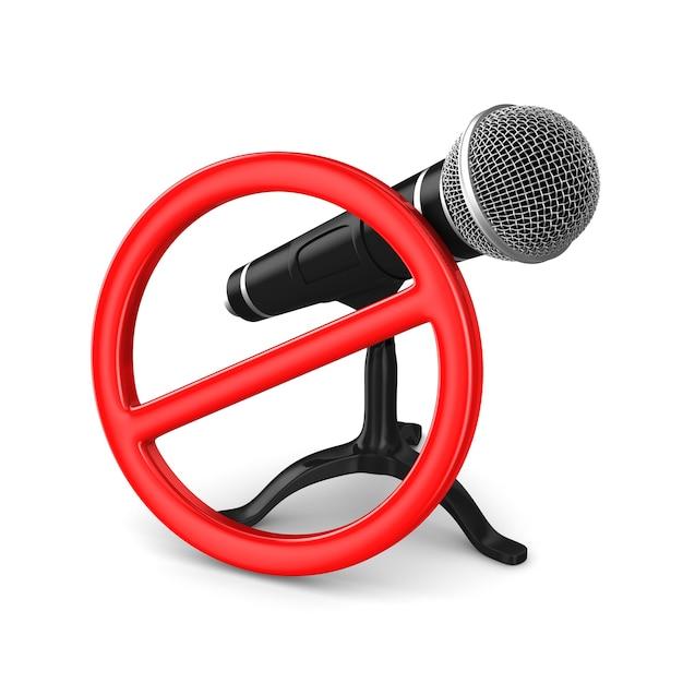 Mikrofon und verbotenes zeichen auf weiß Premium Fotos