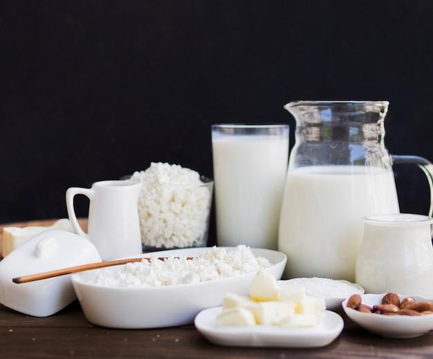 Milch, quark und milchprodukte Kostenlose Fotos