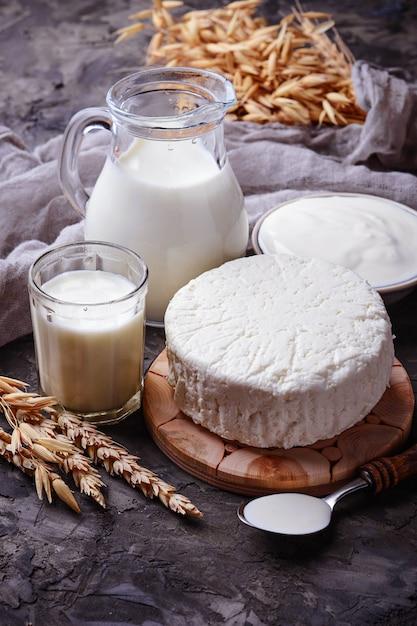 Milchprodukte milch, hüttenkäse, sauerrahm und weizen. selektiver fokus Premium Fotos