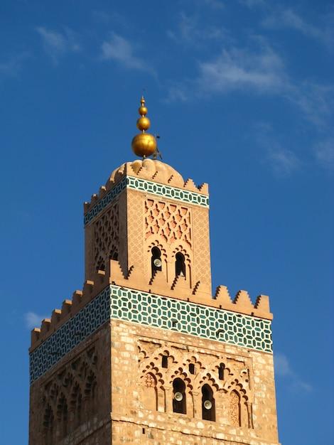 Minarett in marrakesch, marokko Premium Fotos