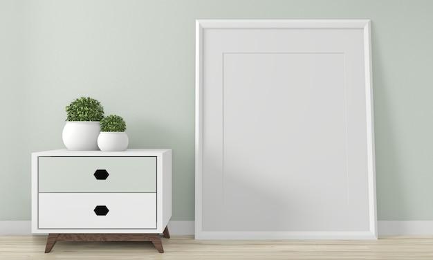 Minikabinettjapan-minimales design und verspotten herauf dekoration auf innenarchitektur des zenraumes 3d rednering Premium Fotos