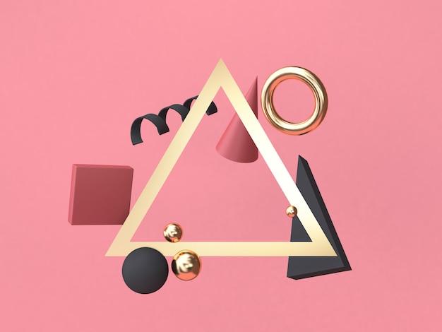 Minimale abstrakte geometrische form des dreieckrahmens rot-rosa hintergrundes, die wiedergabe 3d schwimmt Premium Fotos