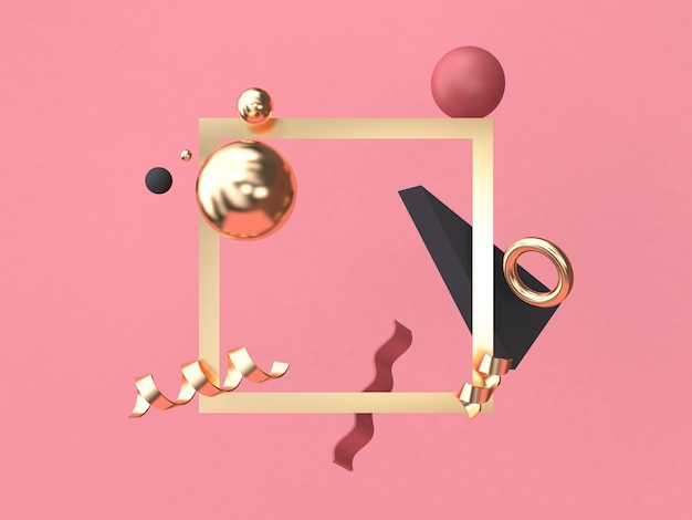Minimale abstrakte geometrische form des gold-quadratischen rahmens rot-rosa hintergrundes, der wiedergabe 3d schwimmt Premium Fotos