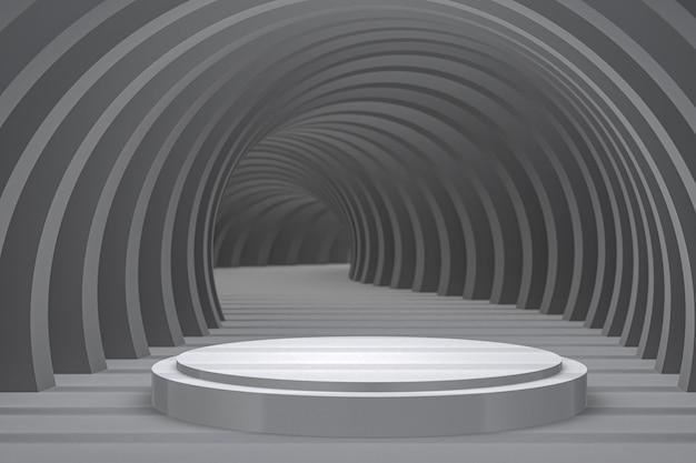 Minimaler abstrakter hintergrund des weißen podiums für kosmetik- oder anzeigeproduktpräsentation Premium Fotos