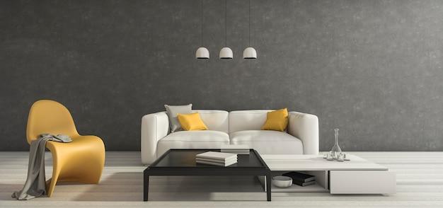 Minimaler raum des dachbodens der wiedergabe 3d mit möbeln des guten designs Premium Fotos